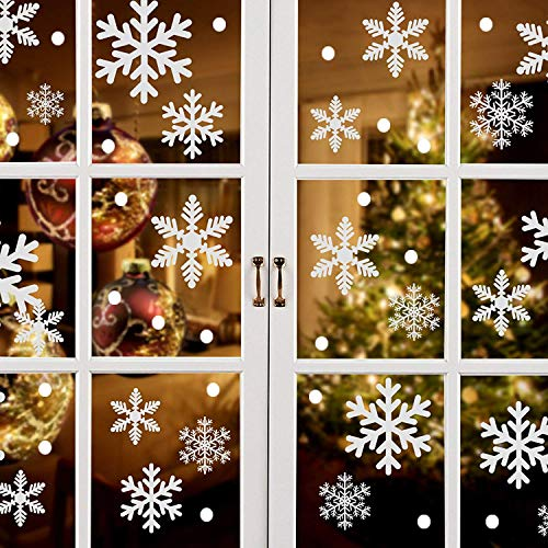 ASZKJ Schneeflocken Fenstersticker+Weihnachtsmann Weihnachtsbaum Rentier Aufkleber etc,Fensterbilder für Weihnachts- und Winter- Dekoration,für Türen,Fenster,Vitrinen,Glasfronten und mehr ,184 Stück