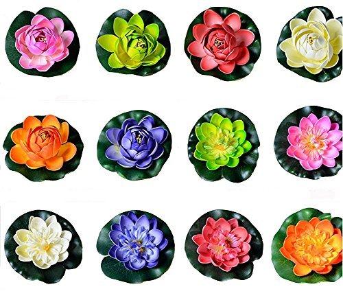 12colorfulife 10,2cm Künstliche EVA Lotus Schwimmende Seerose Blooming Mini-Flower Head Bud Pool Fisch Tank Teich Garten Dekoration