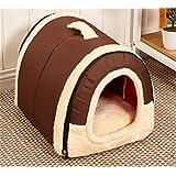 JPtuotu Improve sleep Quality Warm & Comfortable Foldable Non-Slip Pet Dog House Cozy Plush Pet Bed Plus Mat 6 Styles 3 Size (L (60X45X45CM), Style 1)