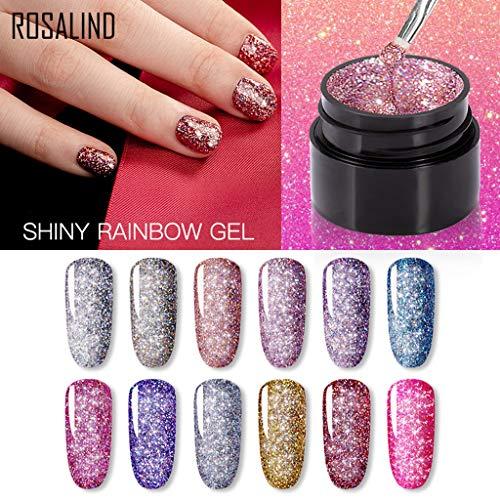 MANjia96COco 12 Colors Gel Nagellack - Mischung Glitter Nail,UV Gel Farbgel Nail Art UV Gel Kunst Nail Polish für Nageldesign, 5ml/Flasche