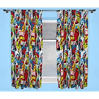Superior Character World 54 Inch Disney Marvel Comics Justice Curtains, Multi Colour