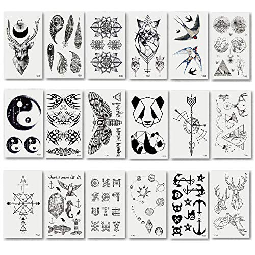 makstore 20 Blätter Tier Totem Temporäre Tattoos schwarze Tätowierung Aufkleber Tattoos Sticker für Herren Damen Kinder (Temporäre Tattoos Zug)