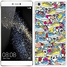 Funda carcasa para Huawei P8 Lite estampado sticker bomb zapatillas borde blanco