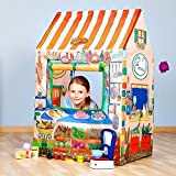Enlarge toy image: FB FunkyBuys® CHILDREN PRETEND PLAY POP UP TENT GIRLS BOYS HOSPITAL, ICE CREAM & MINI FOOD GROCERY SHOP TOY TENT TOWN KIDS INDOOR OUTDOOR FUN ACTIVITY XMAS BIRTHDAY GIFT (Mini Food Shop Play Tent)