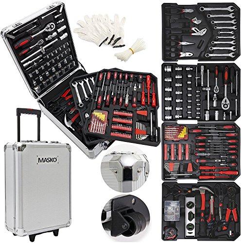 Masko® 849 Werkzeugkoffer Werkzeugkasten Werkzeugkiste Werkzeug Trolley ✔ Profi ✔ 849 Teile ✔ Qualitätswerkzeug ✔ Silber