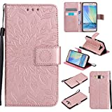 For Samsung Galaxy A5 Case [Rose Gold],Cozy Hut [Wallet Case] Magnetic Flip Book Style Cover Case ,High Quality Classic New design Sunflower Pattern Design Premium PU Leather Folding Wallet Case With [Lanyard Strap] and [Credit Card Slots] Stand Function Folio Protective Holder Perfect Fit For Samsung Galaxy A5 2015 / SM-A500F 5.0 inch - Rose gold