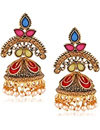Trushi RELIABLE DESIGNER ANTIQUE GOLD PLATED EARRING JHUMKI WITH MULTI-COLOR STONES, MEENAKARI AND PEARLS SET...