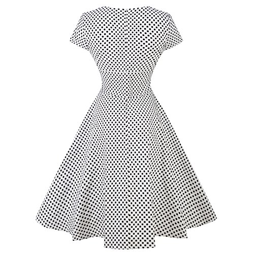 ZAMME Femmes Vintage élégant Polka Dot Party Robes Vestidos Blanc Point donde