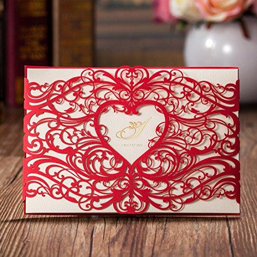 Einladungskarten Hochzeit Wishmade Rot Lasecut Spitze Herz-Design Set 20 Stücke Gratis Umschläge