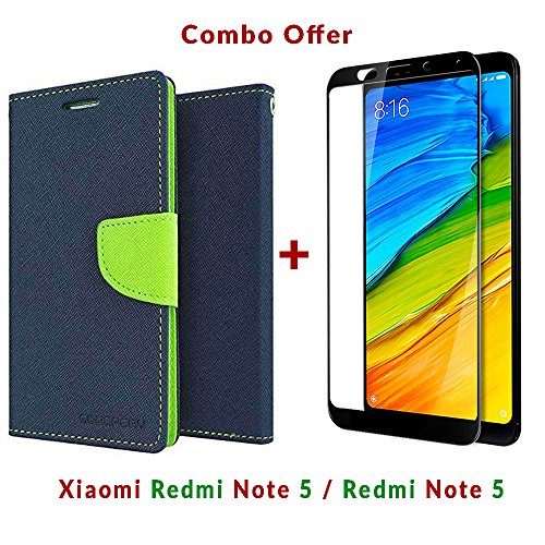 Like It Grab It Xiaomi Redmi Note 5 / mi redmi note 5 / Redmi Note 5 (COMBO OFFER) Flip Cover Case Wallet Style ( Blue : Green ) 2.5D curved 3D Edge to Edge Tempered Glass Mobile Screen Protector (Blue - Black)