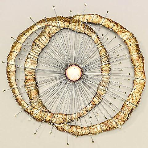 Wand-Objekt Fusion Eisen lackiert gold Länge 91 cm, Wanddeko, Bild, Kunst
