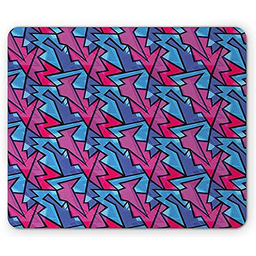 Vernähte Kanten Mouse Pad,Geometric Mouse Pad Abstract Graphic Design In Neon Like Colors Digital Effect Sharp Shapes Rectangle Non-Slip Rubber Mousepad 18X22Cm -