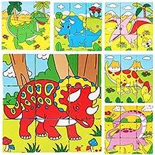 holzsammlung® 9piezas Bloque de madera en forma de cubo rompecabezas–Patrón de dinosaurio bloques Puzzle para niño 3años y UP–-Regalo perfecto de Navidad para tus hijos