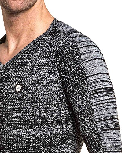 BLZ jeans - Pull fin col V maille relief aux manches Noir