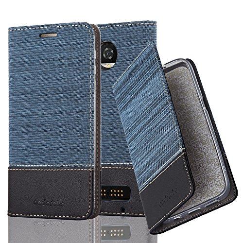 Cadorabo Hülle für Motorola Moto Z2 Play - Hülle in DUNKEL BLAU SCHWARZ – Handyhülle mit Standfunktion und Kartenfach im Stoff Design - Case Cover Schutzhülle Etui Tasche Book