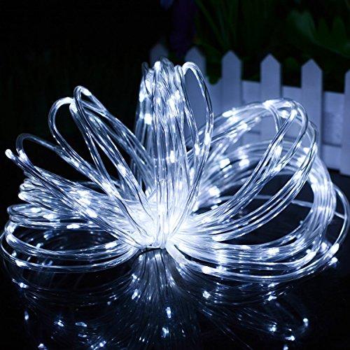 Led Lampes solaires de corde, Dinowin 50led 7 m étanche Fil de cuivre extérieur Tube Guirlande Noël Fête de mariage, jardin, cour, allée, clôture, escaliers, jardin, terrasse