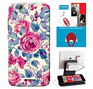 KanvasCases Printed Back Cover For Acer Liquid Z630s + Earphone Cable Organizer + Mobile Charging Holder/Stand
