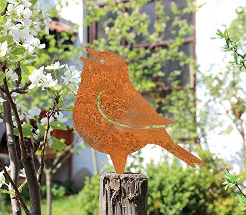 Nostalgic Garden Gartendeko Gartenstecker Vogel zum Stecken Edelrost Baumstamm Rost Deko Design – PO