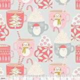 Weihnachtsstoff – Tasse Kakao Grau BLE197 – Kringle's Sweet Shop – 50 cm x 110 cm – Weihnachtsstoff von Blend Fabrics – 100% Baumwolle (BLE197 Cup of Cocoa Grey)