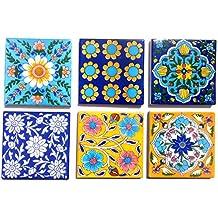 Shiv Kripa Blue Pottery Ceramic Handmade Tiles (4 X 4-inch, Multicolour) - Pack of 6
