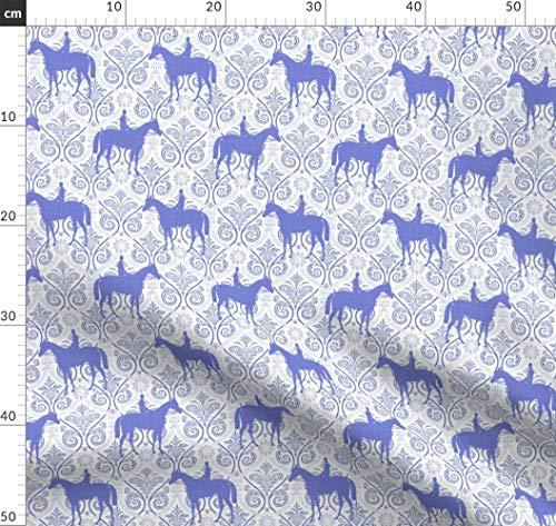 Spandex-rennen (Reiten, Pferd, Pony, Rennen, Paisley, Porzellan Stoffe - Individuell Bedruckt von Spoonflower - Design von Ragan Gedruckt auf Baumwoll Spandex Jersey)