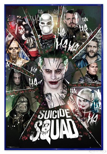 Close Up Suicide Squad Poster Joker & Team Ha Ha Ha (94x63,5 cm) gerahmt in: Rahmen blau (Poster Ha Joker)