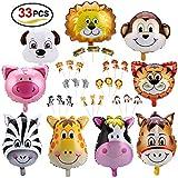 Konsait Tier Folienballon, 9 Stück Party Tier Luftballons Helium Ballons und Tier Torte Topper Cupcake Tortenstecker für Kinder Geburtstag Party Dekoration, 33 Stück