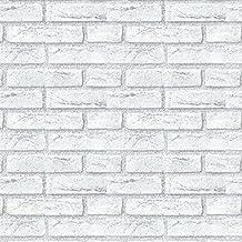 Decowall 20088, carta da parati autoadesiva in vinile, moderna. colore, grigio bianco, effetto mattone, in plastica carta per un appartamento, da bagno, soggiorno, camera da letto, ufficio, sala riunioni, 50cm di larghezza, 50cm(W) x 15m(L)