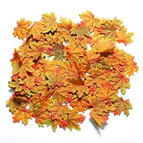 CCINEE 200 Pieces Artificial Autumn Maple Leaves Great Autumn Table Scatters(Brownish Red)
