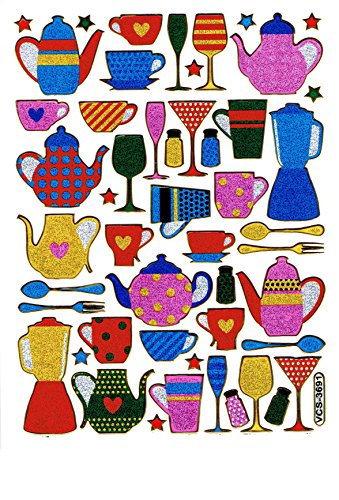 Kaffee Kaffeetasse Teekanne Kaffekanne Kanne Tasse bunt Aufkleber 48-teilig 1 Blatt 135 mm x 100 mm Sticker Basteln Kinder Party Metallic-Look