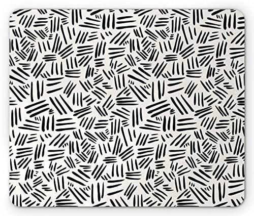 SHAQ Ivory and Black Mouse Pad Mauspad, Random Stripes Pattern Hand Drawn Abstract Arrangement Simplistic Design, Standard Size Rectangle Non-Slip Rubber Mousepad, Ivory Black - Random Stripe