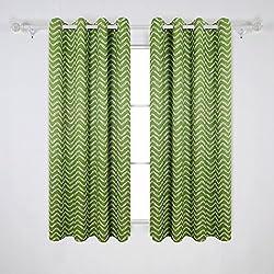 Deconovo Opaca Cortina de Habitaciones Modernas Aislamient Térmico Dormitorios Cortinas con Rayas para Ventanas 2 Piezas 117 x 183 cm Verde