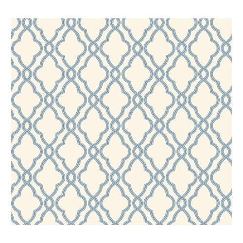 York Wallcoverings WA7706 Waverly Classics Hampton Trellis Wallpaper, Delft Blue/Pure White by York Wallcoverings -