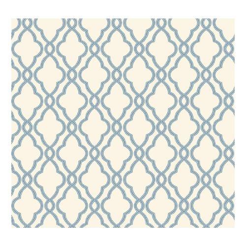 York Wallcoverings WA7706 Waverly Classics Hampton Trellis Wallpaper, Delft Blue/Pure White by York Wallcoverings - Blue Classic Wallpaper