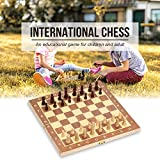 Hykis - International Chess Game Foldable Wooden Chess Set Entertainment Game Chess Set Folding Board Educational Chess 29*29cm