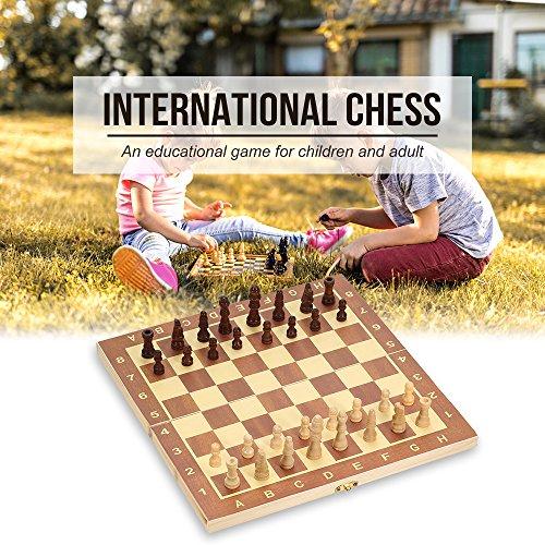 Hykis Internationales Schach-Spiel faltbare Holz Schach-Set Entertainment Spiel Chess Set Faltplatte Educational Schach 29 * 29cm (Lagerung Cover Bench)