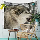 LLHBE Tapiz Lobo Imagen Impresión Tapiz Multifunción Picnic Blanket Decoración Bohemia Tapiz...
