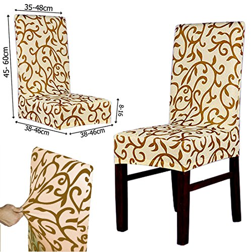JJOnlineStore 2Pcs Removable Washable Stretch Chair Seat Cover Dining Chair Covers Restaurant Slipcovers for Party Weddings Banquet Folding Hotel Decoration Decor (Brown)