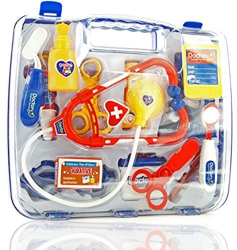 Kinder-Spielzeug 14 Teile Arzt-Kostüm Puppen-Doktor Fasching Karneval Kunststoff Schadstoff geprüft 27 cm (Patienten Arzt Kostüm)