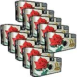 10 x PHOTO PORST mariage Caméra/Appareil photo jetable Rose rouge + Anneaux (avec flash et piles, 27 Photos, ISO 400 Fuji chacune)