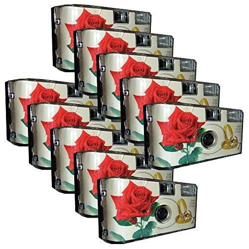 """10x PHOTO PORST Hochzeitskamera / Einwegkamera \""""rote Rose + Ringe\"""" (deutsche Bedienungsanleitung, mit Blitzlicht und Batterien, je 27 Fotos, ISO 400 Fuji)"""