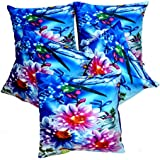 5pcs Multicolor Silk Pillow Covers Floral Digital Print Sofa Cushion Covers