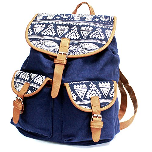 Bag2Bag - Borsa a Zainetto Ragazza unisex da bambini donna unisex adulti Blue Elephants - 2 Pockets