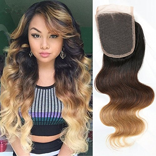 Moresoo 16 pouces/40cm Noir to Chocolat Brun to Caramel Blond Tie and Dye Bresilien Vierge Top Closure Humains Hair 4*4 Free Part Ondulés Ombre Top Lace Closure