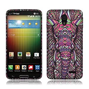 NextKin LG Lucid 3 VS876 Flexible Slim Silicone TPU Skin Gel Soft Protector Cover Case - Elephant Head Aztec