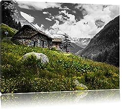 wunderschöne Steinhütte auf Berg schwarz/weiß Format: 100x70 auf Leinwand, XXL riesige Bilder fertig gerahmt mit Keilrahmen, Kunstdruck auf Wandbild mit Rahmen, günstiger als Gemälde oder Ölbild, kein Poster oder Plakat