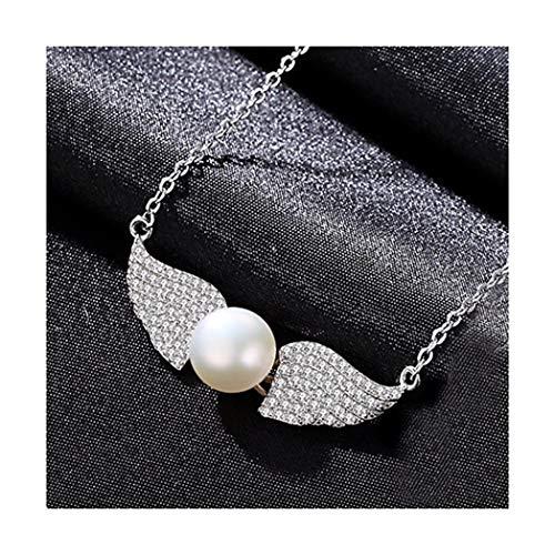 MWTWM Süßwasser Pearl Anhänger Engel Flügel Silber Schlüsselbein Kette Diamond Crystal Weiss Elegant Großzügige Würdige Lady Silber Schmuck, Weiß