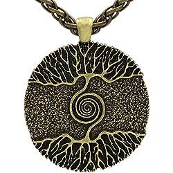 Viking Collar con colgante de lobo de Odín de la vida del árbol de la vida medieval