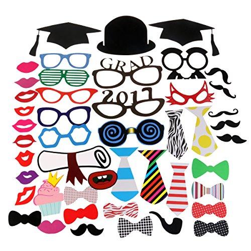 y Foto Booth Requisiten, 2017 Graduation Party Dekorationen Party gefallen für Hochzeit Party Graduierung Geburtstage Dress-Up Zubehör, BEFESTIGT AN DEN STÖCKEN, Pack 47 (Promotion Foto Requisiten)
