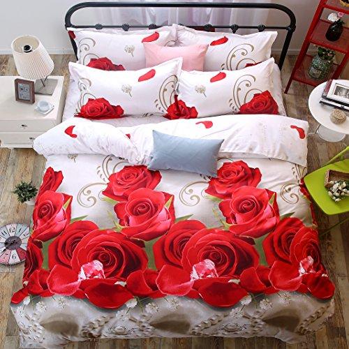 4Piece Betten Sets 3D bedruckt MX ROT Rose Bettwäsche Bettbezug Set Tröster Bettlaken Doppelbett (Bettwäsche-set Rose Garden)